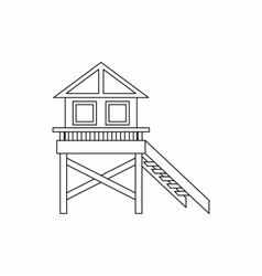 Wooden stilt house icon outline style vector