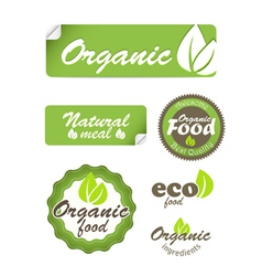 Eco food stickers isolated on white vector