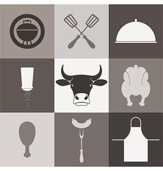 Barbecue grill Icon set vector image vector image
