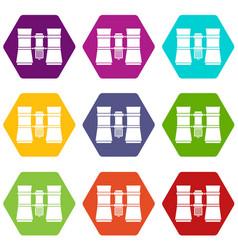 Binoculars icon set color hexahedron vector