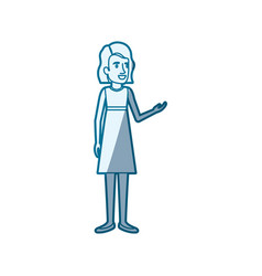 blue shading silhouette of silhouette of woman in vector image