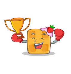 Boxing waffle character cartoon design winner vector