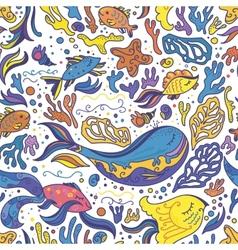 Bright sea doodle pattern vector image vector image