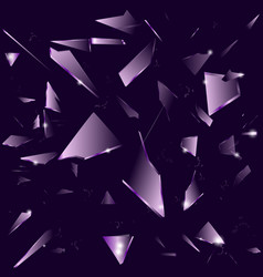 broken glass on the dark purple background vector image
