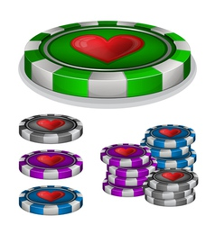 Casino chips with hearts sign vector image vector image