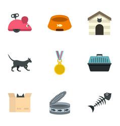 Cat toys icons set cartoon style vector