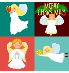 christmas holiday set of flying angel with wings vector image vector image