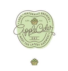 Cider logo label retro lettering apple basket vector