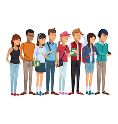 Colorful set group of students teenagers standing vector