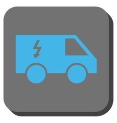 Electrical car rounded square button vector