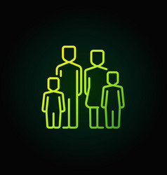 Family with two children green icon vector