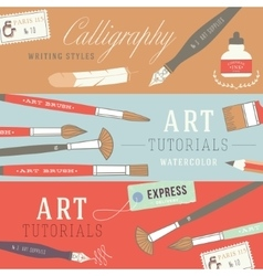 Flat design concepts for art courses vector