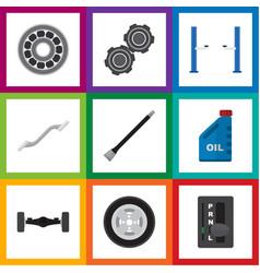 Flat workshop set of petrol belt auto jack and vector