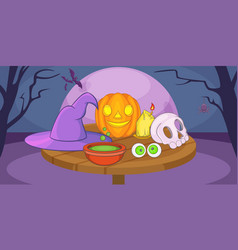 Haloween mystic horizontal banner cartoon style vector