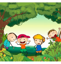 Kids in Forest vector image
