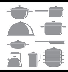 Kitchen tools silhouette icons set vector image vector image