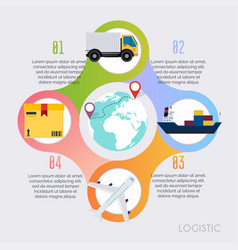 Logistic infographics global logistic vector