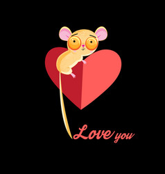 loving little tarsier with a heart vector image vector image