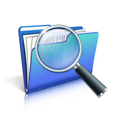 Magnifying glass over the blue folder vector image vector image