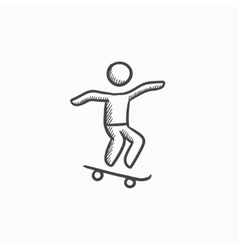 Man riding on skateboard sketch icon vector image