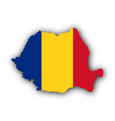 map and flag of romania vector image vector image