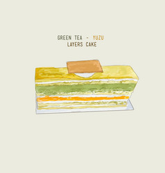 Matcha green tea and yuzu orage layers cake vector