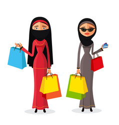 muslim womam shopping women with shopping bags vector image