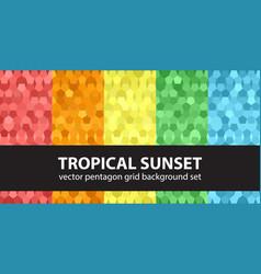 pentagon pattern set tropical sunset seamless vector image