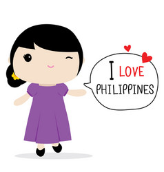philippines women national dress cartoon vector image vector image