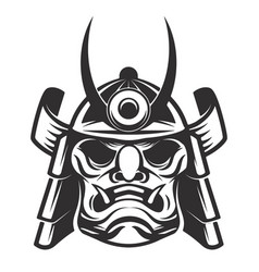 Samurai warrior helmet isolated on white vector