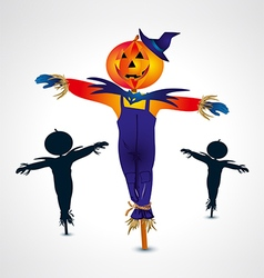Scarecrows halloween symbol vector