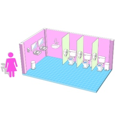 Toilet interior for female with 3d facilities vector