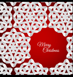 White paper christmas snowflakes on a red vector