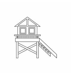 Wooden stilt house icon outline style vector