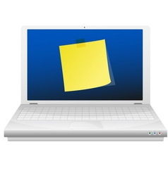 Yellow sticky note at the laptop screen vector image vector image