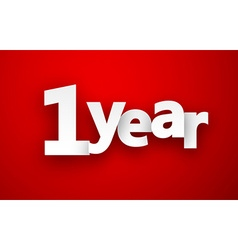 1 year paper sign vector
