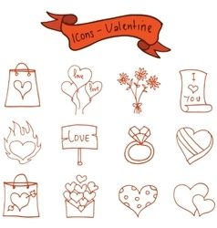 Romance theme valentine of icons vector