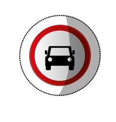 Dotted sticker with road sign of car crossing vector