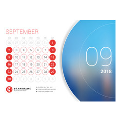 September 2018 desk calendar for 2018 year vector