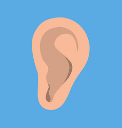 Ear icon in flat style listen symbol isolated on vector