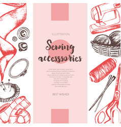Sewing accessories - color drawn vintage banner vector