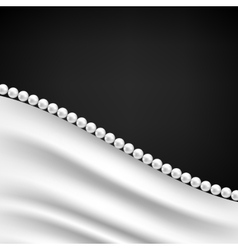 Silk drapery and pearl necklace vector