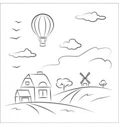 Balloon over the country vector