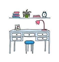 Desk and shelf with books vector