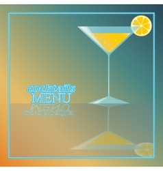 Tropical cocktail with orange and bubbles vector