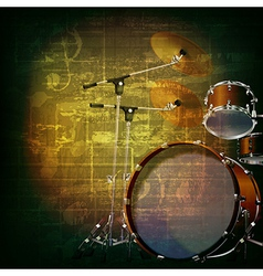 Abstract green grunge music background with drum vector