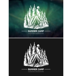 Vintage summer outdoor hiking and camping retro vector