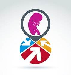 Colorful corporate brand icon with a baby fetus vector
