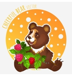 Romantic bear with raspberries vector