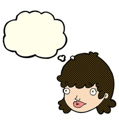 Cartoon staring girl with thought bubble vector